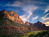 Sunset with The Watchman and Bridge Mountain,sunset and moon. Zion National Park, Utah