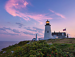 Lincoln County, ME: Pemaquid Point Lighthouse (1835) at with sunset clouds