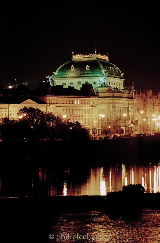 The National Theatre on the banks of the River Vltava, Prague, Czech Republic