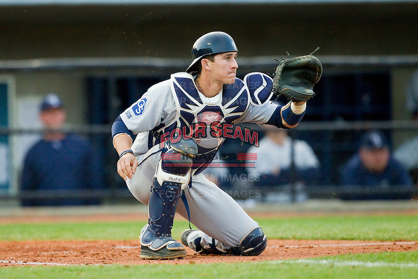 Georgia Southern Eagles catcher Chase Griffin (23) waits for a throw at home plate during the game against the UNCG Spartans at UNCG Baseball Stadium on March 29, 2013 in Greensboro, North Carolina.  The Spartans defeated the Eagles 5-4.  (Brian Westerholt/Four Seam Images)