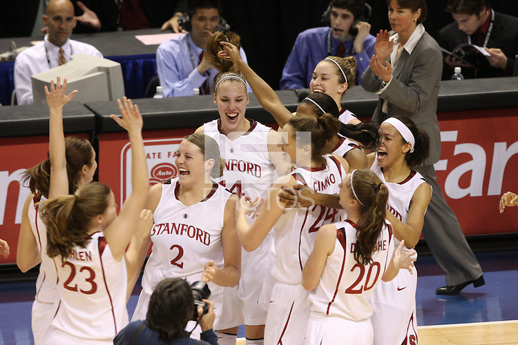10 March 2008: Stanford Cardinal (not in order) Morgan Clyburn, Jeanette Pohlen, Jayne Appel, Kayla Pedersen, Ashley Cimino, Candice Wiggins, JJ Hones, Rosalyn Gold-Onwude, and Hannah Donaghe during Stanford's 56-35 win against the California Golden Bears in the 2008 State Farm Pac-10 Women's Basketball championship game at HP Pavilion in San Jose, CA.