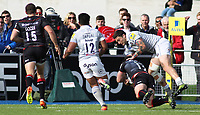 Brad Barritt of Saracens scores their sixth try during the Aviva Premiership match between Saracens and Bath Rugby at Allianz Park, Hendon, England on 26 March 2017. Photo by Stewart  Wright  / PRiME Media Images.