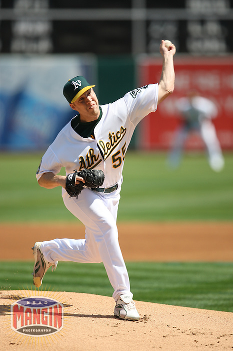 OAKLAND, CA - SEPTEMBER 13:  Josh Outman of the Oakland Athletics pitches during the game against the Texas Rangers at the McAfee Coliseum in Oakland, California on September 13, 2008.  The Athletics defeated the Rangers 7-1.  Photo by Brad Mangin