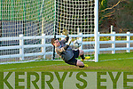 Castleisland keeper Stephen Bartlett sensationaly saves a spot kick in the penalty shoot out in their FAI Junior cup victory in Killybegs on Sunday