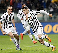 Calcio, Serie A: Juventus vs Inter. Torino, Juventus Stadium, 28 February 2016.<br /> Juventus&rsquo; Alvaro Morata, right, celebrates with teammate Leonardo Bonucci after scoring on a penalty kick during the Italian Serie A football match between Juventus and Inter at Turin's Juventus Stadium, 28 February 2016.<br /> UPDATE IMAGES PRESS/Isabella Bonotto