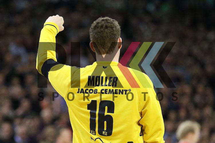 Flensburg, 25.03.15, Sport, Handball, DKB Handball Bundesliga, Saison 2014/2015, 26. Spieltag, SG Flensburg-Handewitt - Frisch Auf! G&ouml;ppingen : Jubel &uuml;ber gehaltenen Wurf Kevin M&oslash;ller (SG Flensburg-Handewitt, #16)<br /> <br /> Foto &copy; P-I-X.org *** Foto ist honorarpflichtig! *** Auf Anfrage in hoeherer Qualitaet/Aufloesung. Belegexemplar erbeten. Veroeffentlichung ausschliesslich fuer journalistisch-publizistische Zwecke. For editorial use only.
