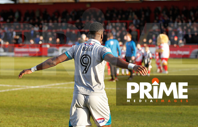 Grimsby's Omar Bogle enters the fray during the Sky Bet League 2 match between Stevenage and Grimsby Town at the Lamex Stadium, Stevenage, England on 28 January 2017. Photo by Carlton Myrie / PRiME Media Images.