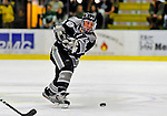 7 February 2009: Providence College Friars' defenseman Matt Taormina, a Senior from Washington Township, MI, takes a shot against the University of Vermont Catamounts during the second game of a weekend series at Gutterson Fieldhouse in Burlington, Vermont. The Catamounts swept the 2-game series notching 4-1 wins in both games. Mandatory Photo Credit: Ed Wolfstein Photo