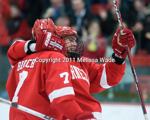 Braden Birch (Cornell - 7), Mike Devin (Cornell - 2) - The Harvard University Crimson hosted the Cornell University Big Red on Saturday, January 29, 2011, at Bright Hockey Center in Cambridge, Massachusetts.