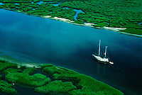 Aerial  view of sailboat along the intra-coastal waterway. South Carolina.