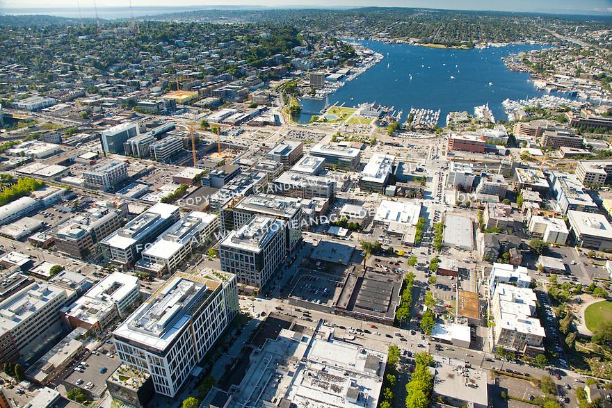 aerial photo of Seattle's South Lake Union (SLU) neighborhood, with Lake Union beyond