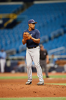 Eleardo Cabrera (15) gets ready to deliver a pitch during the Tampa Bay Rays Instructional League Intrasquad World Series game on October 3, 2018 at the Tropicana Field in St. Petersburg, Florida.  (Mike Janes/Four Seam Images)