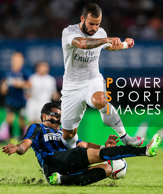 (L) Jeison Murillo of FC Internazionale Milano competes for the balding (R) Jese Rodriguez of Real Madrid CF during the FC Internazionale Milano vs Real Madrid  as part of the International Champions Cup 2015 at the Tianhe Sports Centre on 27 July 2015 in Guangzhou, China. Photo by Aitor Alcalde / Power Sport Images