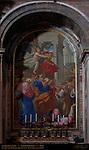 Punishment of the Couple Ananias and Saphira Pietro Paolo Cristofari 1727 mosaic reproduction of Cristoforo Roncalli Pomerancio 1604 canvas St Peter's Basilica Rome