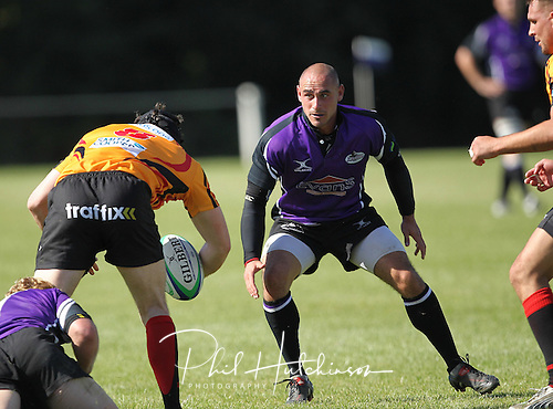 8.09.2012   Blaby, Leicester, England. Rugby Union. Leicester Lions v Birmingham. Lions Sam Dimmick in action  during the RFU National - SSE Nat League 2 North game played at the Lutterworth Road Road Stadium.