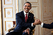 Caen, France - June 6, 2009 -- United States President Barack Obama shakes hands with President Nicolas Sarkozy of France during a bilateral meeting in Caen, France, Saturday, June 6, 2009. .Mandatory Credit: Pete Souza - White House via CNP