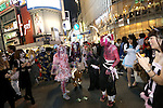 People in costumes pose in the middle of Shibuya scramble crossing on halloween in Tokyo, Japan October 31, 2014.  (Photo by Yuriko Nakao /AFLO)
