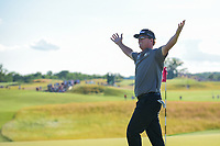 Charley Hoffman (USA) celebrates sinking a long par-saving putt on 18 during Sunday's round 4 of the 117th U.S. Open, at Erin Hills, Erin, Wisconsin. 6/18/2017.<br /> Picture: Golffile | Ken Murray<br /> <br /> <br /> All photo usage must carry mandatory copyright credit (&copy; Golffile | Ken Murray)