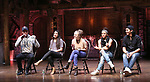 "Taran Killam, Lauren Boyd, Hope Endrenyi, Sasha Hollinger and Anthony Lee Medina during The Rockefeller Foundation and The Gilder Lehrman Institute of American History sponsored High School student #EduHam Q & A  before matinee performance of  ""Hamilton"" at the Richard Rodgers Theatre on 3/29/2017 in New York City."