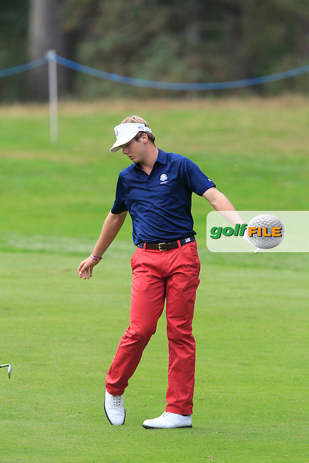Sam Burns (USA) on the 2nd hole of the Mixed Fourballs during the 2014 JUNIOR RYDER CUP at the Blairgowrie Golf Club, Perthshire, Scotland. <br /> Picture:  Thos Caffrey / www.golffile.ie