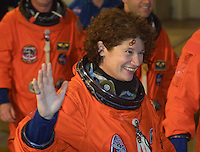 Space Shuttle Discovery crew member Susan Helms waves tot he media at the beginning of the STS 102 Mission, Kennedy Space Center, Titiusville, FL,  March 2001.  (Photo by Brian Cleary/www.bcpix.com)