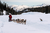 Aliy Zirkle runs on the trail in the late afternoon after leaving the Rainy Pass checkpoint  during the 2019 Iditarod on Monday, March 4th 2019.<br /> <br /> Photo by Jeff Schultz/  (C) 2019  ALL RIGHTS RESERVED