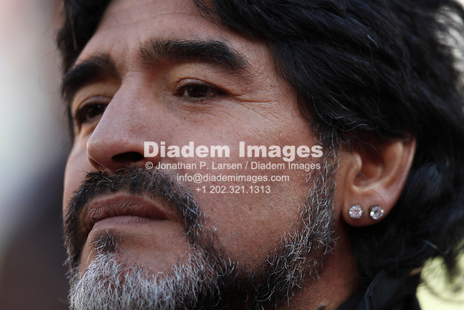 JOHANNESBURG - JUNE 17:  Argentina Coach Diego Maradona seen prior to a 2010 FIFA World Cup soccer match between Argentina and the Korea Republic June 17, 2010 in Johannesburg, South Africa.  NO mobile use.  Editorial ONLY.  (Photograph by Jonathan P. Larsen)
