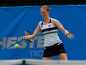 June 14th 2017, The Northern Lawn tennis Club, Manchester, England; ITF Womens tennis tournament; Number three seed Alison Van Uytvanck (BEL) in action during her first round singles match against  An-Sophie Mestach (BEL); Van Uytvanck won in straight sets