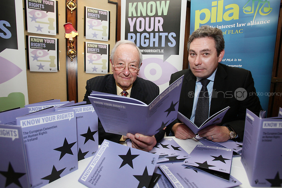 NO REPRO FEE. 23/11/2010. ICCL BOOK LAUNCH. Pictured at Buswells Hotel, Dublin at the launch of the ICCL's latest Know your Rights publication on the European Convention of Human Rights were Guest Lawyer Lord Anthony Lester and ICCL director Mark Kelly. Picture James Horan/Collins Photos
