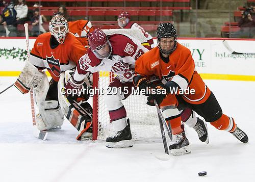 Colin Blackwell (Harvard - 63), Tom Kroshus (Princeton - 4) - The Harvard University Crimson defeated the visiting Princeton University Tigers 5-0 on Harvard's senior night on Saturday, February 28, 2015, at Bright-Landry Hockey Center in Boston, Massachusetts.