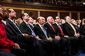 FEBRUARY 5, 2019 - WASHINGTON, DC: Members of the cabinet from left: Elaine Chao, Ben Carson, Alex Azar, Alex Acosta, Wilbur Ross, Sonny Perdue, Steven Mnuchin and Mike Pompeo during the State of the Union address at the Capitol in Washington, DC on February 5, 2019. <br /> Credit: Doug Mills / Pool, via CNP