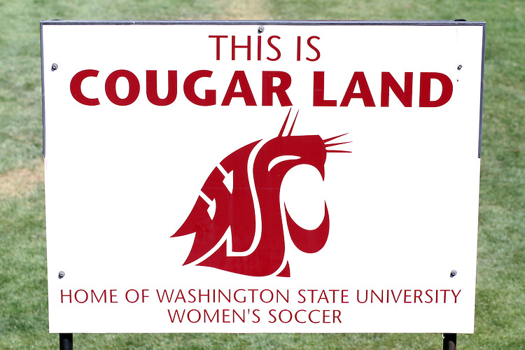 "The sign above the main entrance to the Lower Soccer Field proclaims to all that this ""Cougar Land"" and it is the home of the Washington State University Women's Soccer Team."