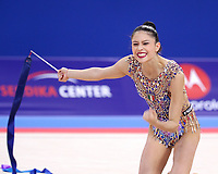 September 13, 2018 - Sofia, Bulgaria - MELINA BALDASSARRI of Italy, emotion after ribbon routine during EF at 2018 World Championships.