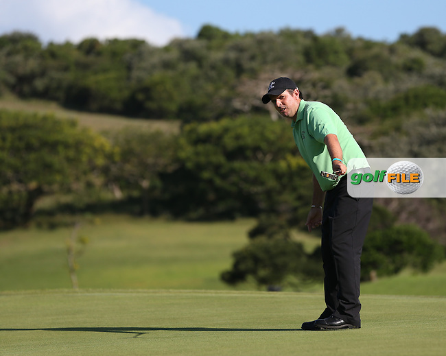 Thomas Aiken (RSA) knows the ball is on its way to win the Final Round play-off at The Africa Open 2014 at the East London Golf Club, Eastern Cape, South Africa. Picture:  David Lloyd / www.golffile.ie