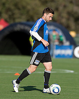 Bobby Convey of Earthquakes warms up during practice before the game against the Red Bulls at Buck Shaw Stadium in Santa Clara, California.  San Jose Earthquakes defeated New York Red Bulls, 4-0.