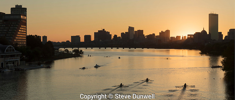 panoramic sunrise from BU bridge, Boston, MA Charles River rowing