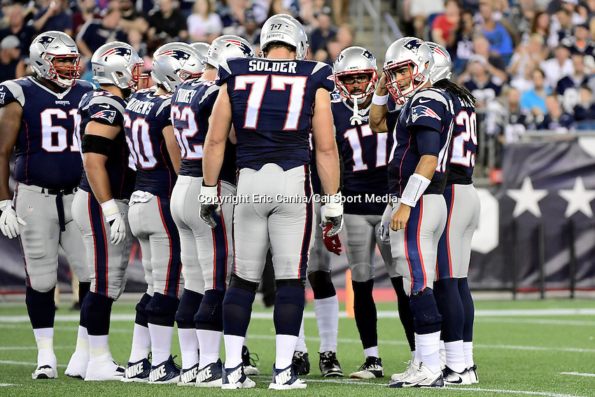 Thursday, August 18 2016: New England Patriots quarterback Jimmy Garoppolo (10) waits to huddle the offense during a pre-season NFL game between the Chicago Bears and the New England Patriots held at Gillette Stadium in Foxborough Massachusetts. The Patriots defeat the Bears 23-22 in regulation time. Eric Canha/Cal Sport Media