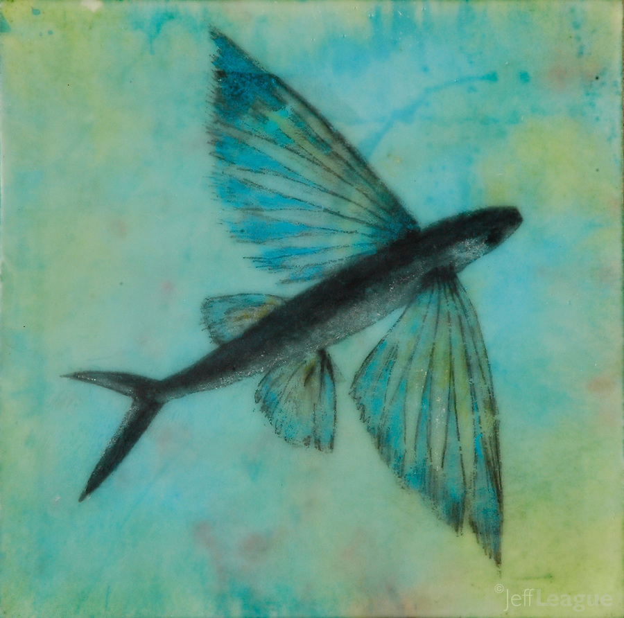 Flying fish photo transfer over encaustic painting.
