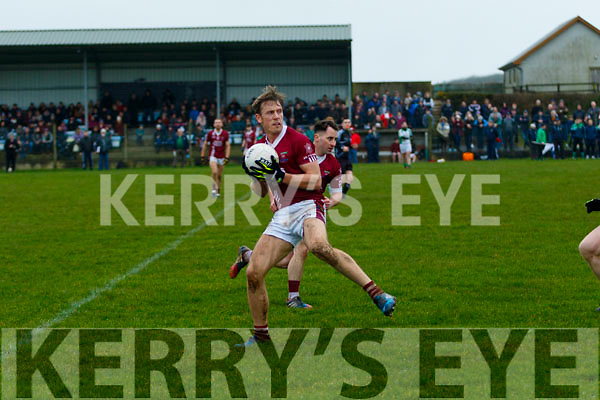 Donnachadh Walsh, Cromane, takes possession of the ball during their sides clash with Ballybrown in the Munster Junior B Club Football Final in Knockaderry