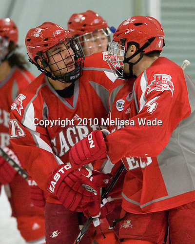 Ben Ketuchum (Sacred Heart - 13) and Alex Stuart (Sacred Heart - 4) celebrated David Berube's goal. - The Bentley University Falcons defeated the visiting Sacred Heart University Pioneers 6-2 in their home opener at John A. Ryan Skating Center in Watertown, Massachusetts.