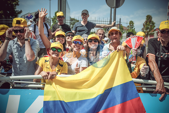 Colombian fans at the finish of Stage 6 of the 104th edition of the Tour de France 2017, running 216km from Vesoul to Troyes, France. 6th July 2017.<br /> Picture: ASO/Thomas Maheux | Cyclefile<br /> <br /> <br /> All photos usage must carry mandatory copyright credit (&copy; Cyclefile | ASO/Thomas Maheux)