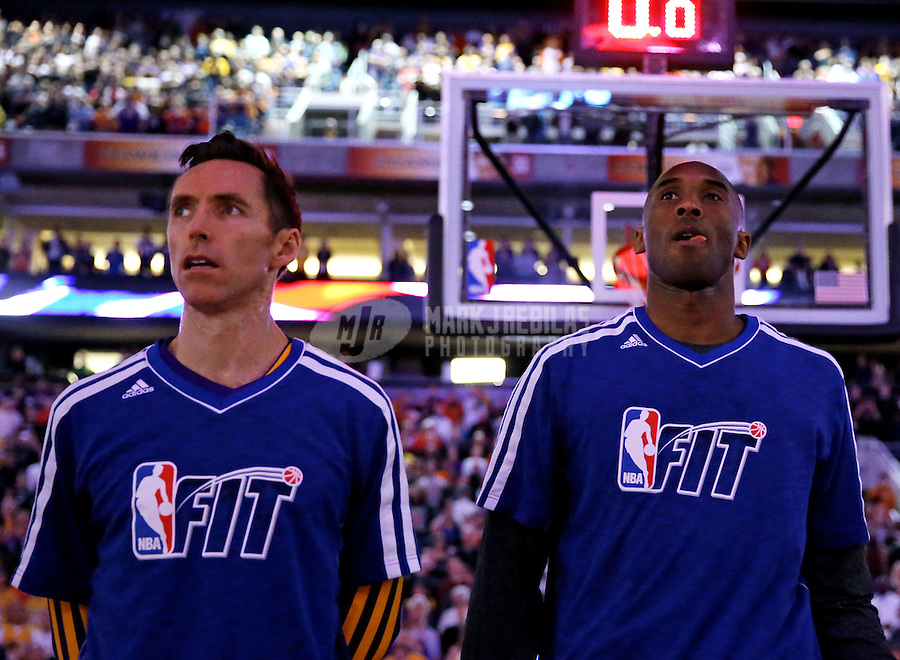 Jan. 30, 2013; Phoenix, AZ, USA: Los Angeles Lakers guard Steve Nash (left) and Kobe Bryant against the Phoenix Suns at the US Airways Center. Mandatory Credit: Mark J. Rebilas-