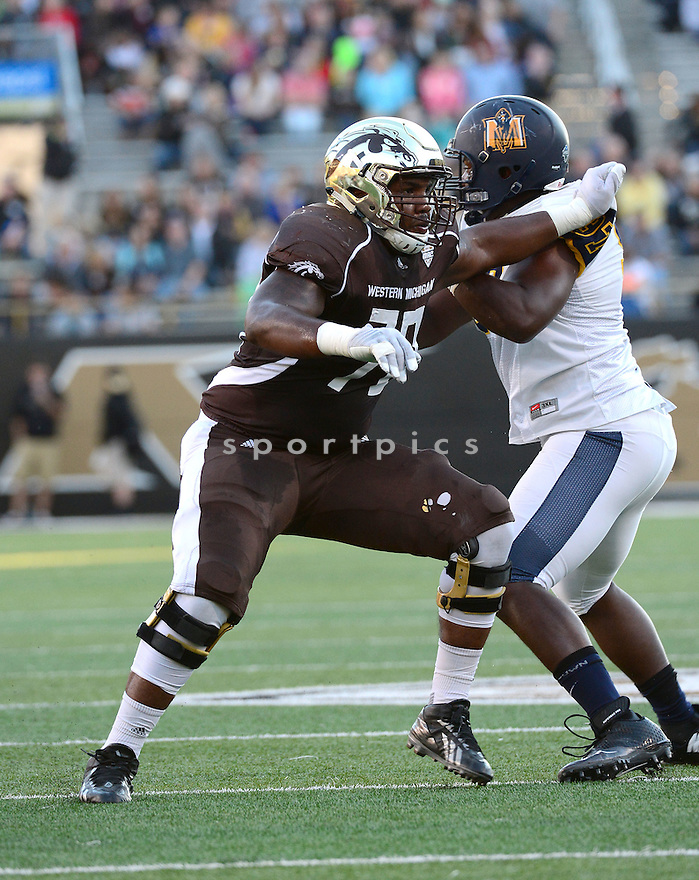 Western Michigan Broncos Willie Beavers (70) during a game against the Murray State Racers on September 19, 2015 at Waldo Stadium in Kalamazoo, MI. Western Michigan beat Murray State 52-20