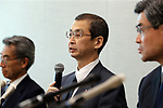 June 26, 2017, Tokyo, Japan - Japan's automobile parts maker Takata president Shigehisa Takata announces the company's bankruptcy at a press conference in Tokyo on Monday, June 26, 2017. Takata filed for bankruptcy protection, Japan's largest failure of manufacturing sector, to Tokyo district court as a global recall of the company's automotive air bags.   (Photo by Yoshio Tsunoda/AFLO) LwX -ytd-