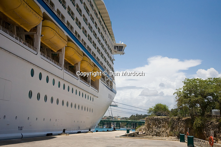 "The Royal Caribbean cruise ship ""Explorer of the Seas"" at dock in the Dominican Republic."