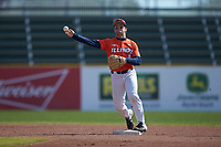 Illinois Fighting Illini second baseman Brody Harding (12) makes a throw to first base against the West Virginia Mountaineers at TicketReturn.com Field at Pelicans Ballpark on February 23, 2020 in Myrtle Beach, South Carolina. The Fighting Illini defeated the Mountaineers 2-1.  (Brian Westerholt/Four Seam Images)
