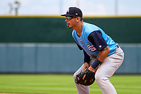 Colorado Springs Sky Sox first baseman Jacob Nottingham (27) gets into defensive position during a Pacific Coast League game against the Iowa Cubs on June 23, 2018 at Principal Park in Des Moines, Iowa. Colorado Springs defeated Iowa 4-2. (Brad Krause/Four Seam Images)
