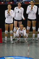 15 December 2007: Stanford Cardinal Erin Waller (12), Cassidy Lichtman (8), Jessica Fishburn (11), and Stephanie Browne (15) during Stanford's 25-30, 26-30, 30-23, 30-19, 8-15 loss against the Penn State Nittany Lions in the 2007 NCAA Division I Women's Volleyball Final Four championship match at ARCO Arena in Sacramento, CA.