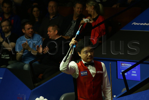 26.04.2016: Sheffield, Yorkshire, UK.  Ding Junhui is through to the semi-finals of the World Championship for the second time in his career (2011). Beats Mark Williams 13-3 at the Crucible, Sheffield, England.