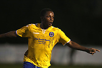 Taku Maghingaidze of Woodford Town celebrates scoring the first goal during Leyton Athletic vs Woodford Town, Essex Senior League Football at Wadham Lodge Sports Ground on 1st December 2018